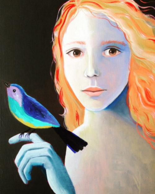 margot verhoeven, portret, maanmeisje, vogel
